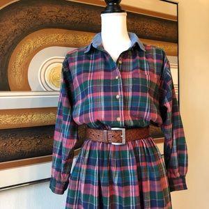 Vintage '80s Eddie Bauer Plaid Midi Dress